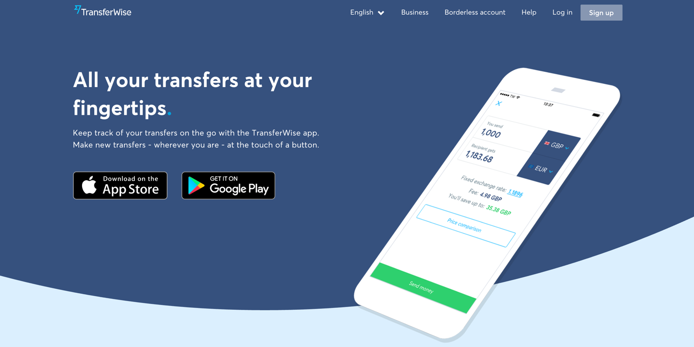 TransferWise App and Interface