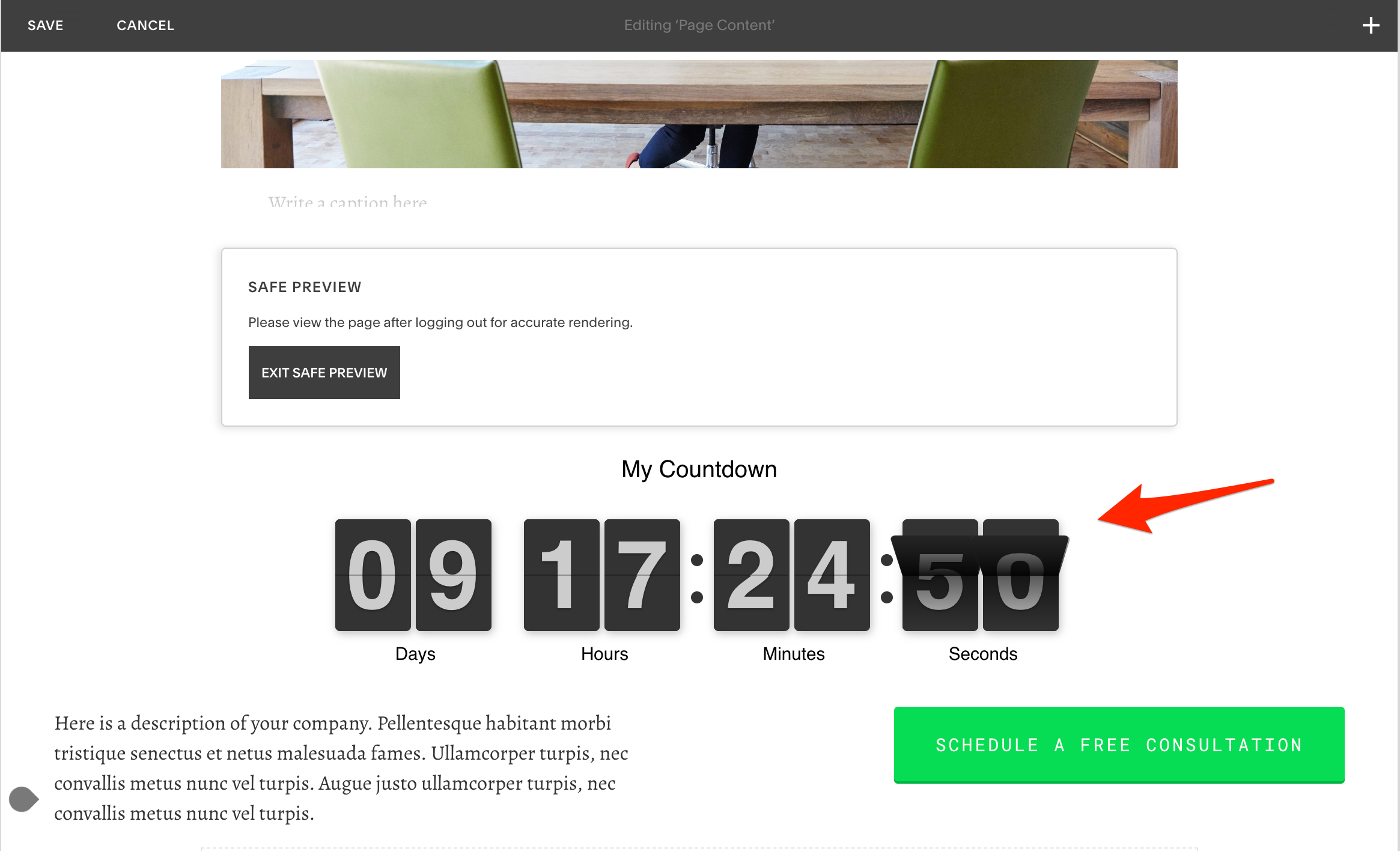 Countdown Timer Squarespace Demo
