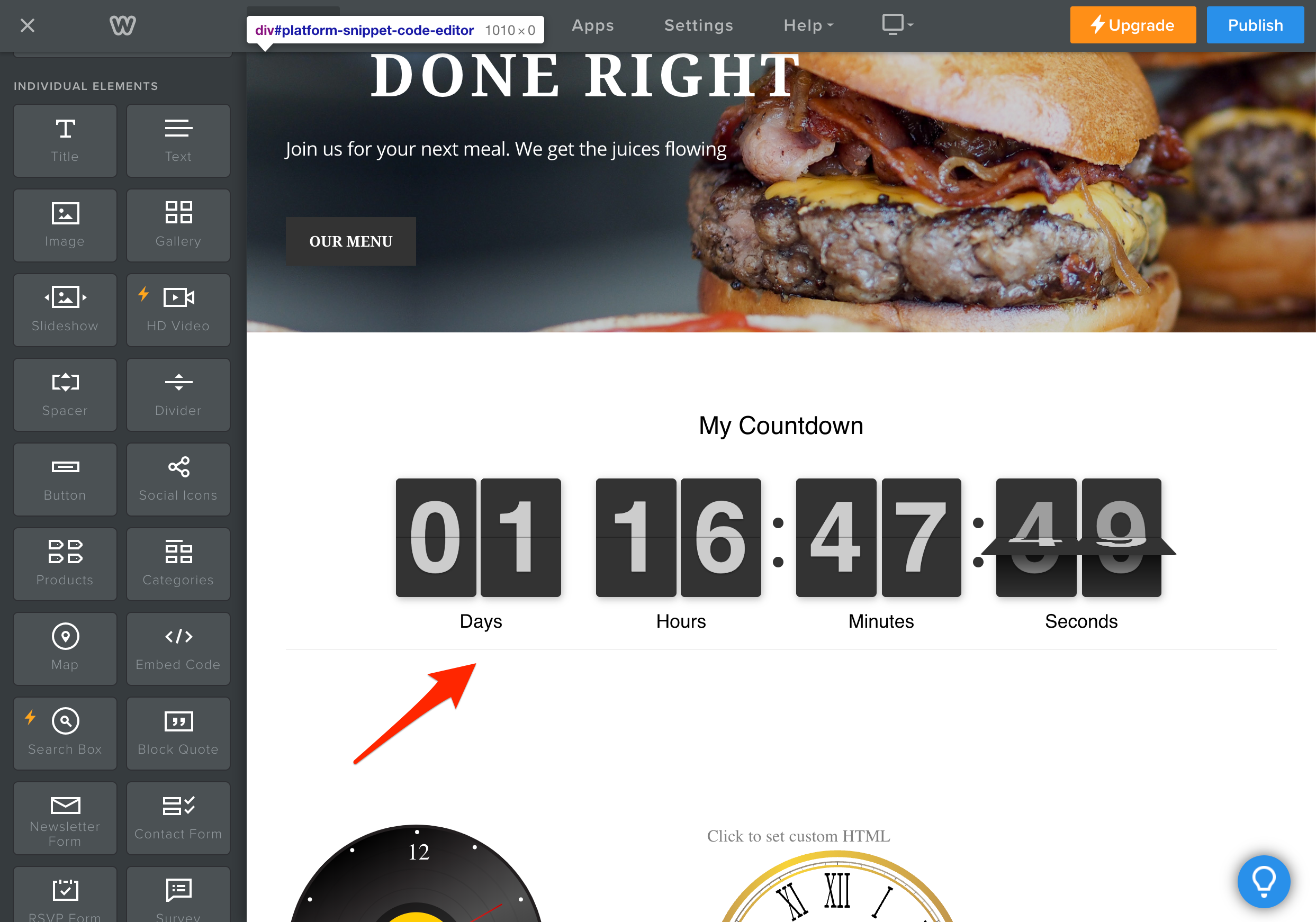 Countdown Timer Weebly Demo