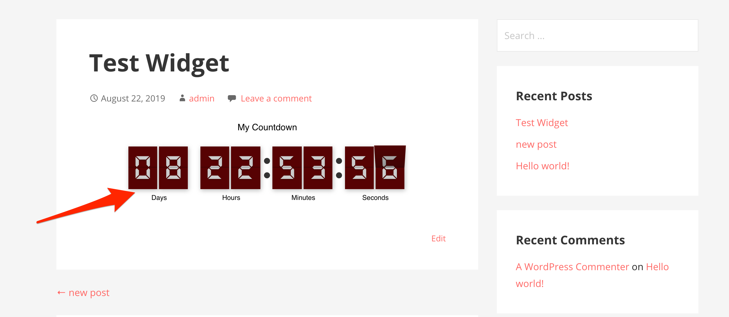 Wordpress Countdown Timer Post