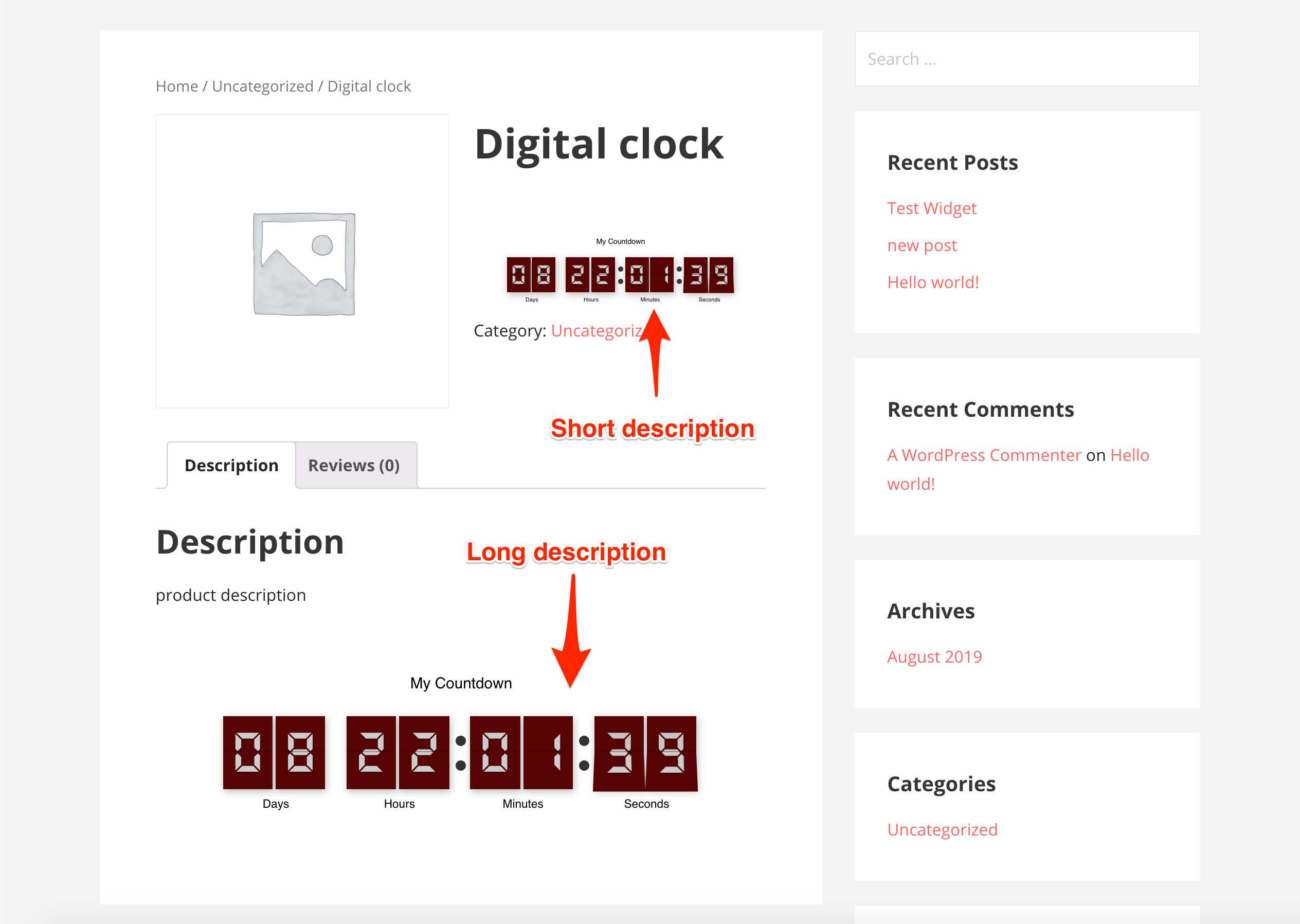 Wordpress Countdown Timer Product Description Demo