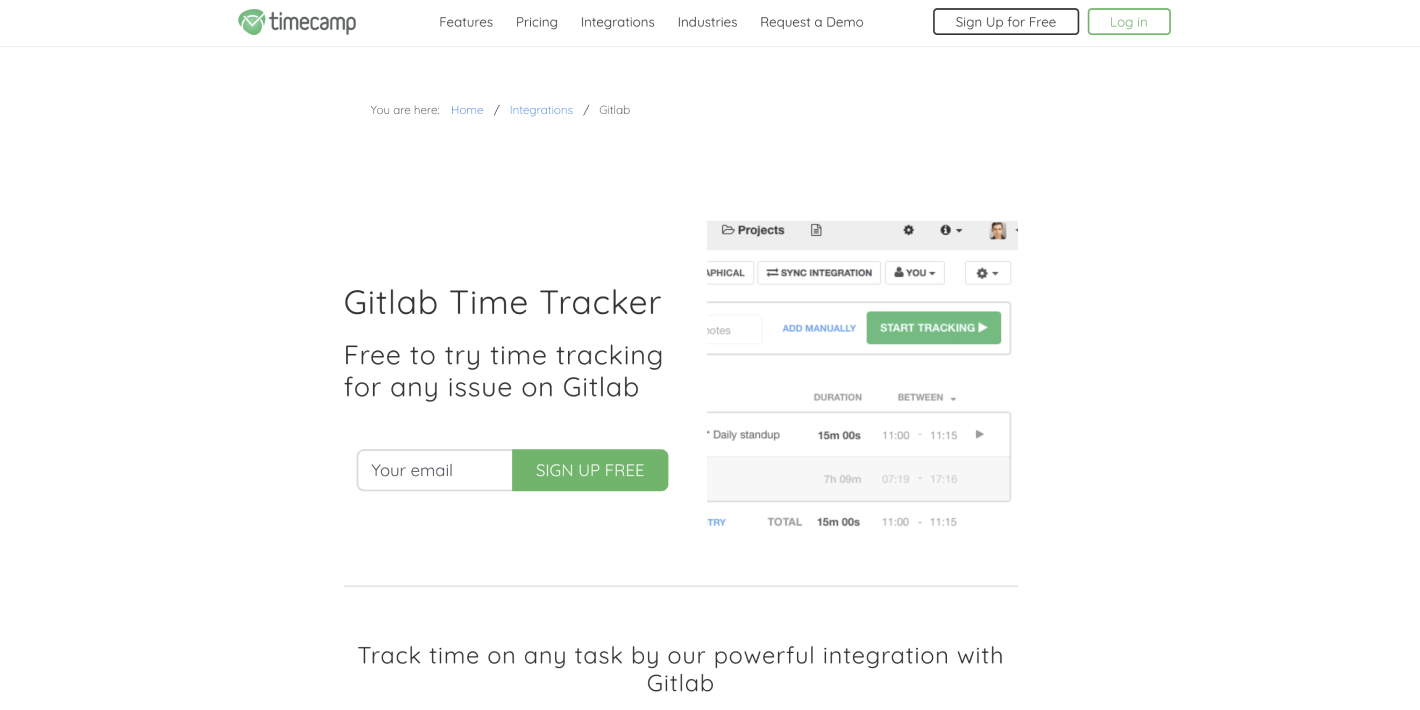 Timecamp and Gitlab Time tracker