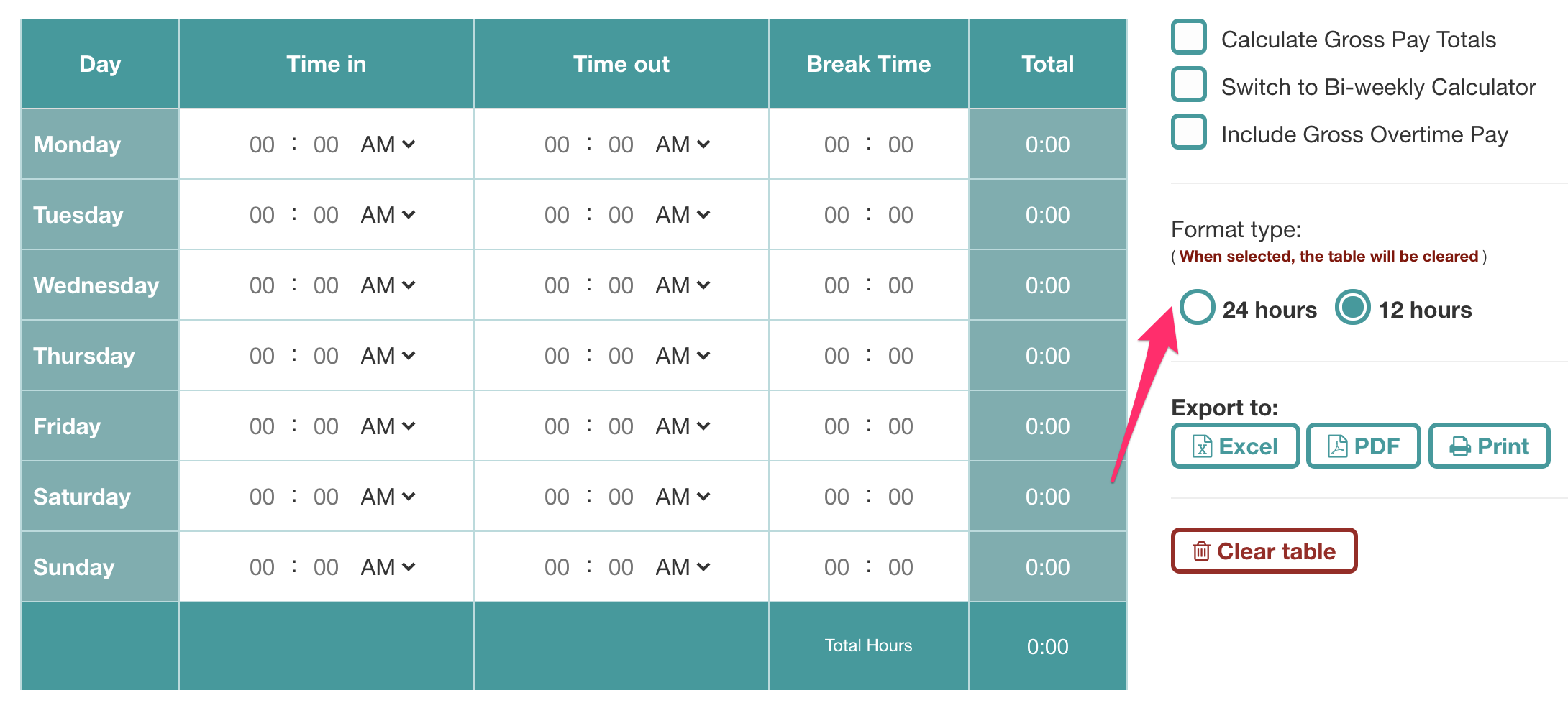 Time Format of the Timesheet Calculator